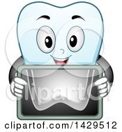 Clipart Of A Happy Tooth Character Holding An X Ray Royalty Free Vector Illustration