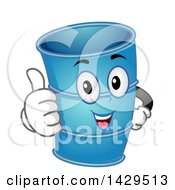 Clipart Of A Blue Drum Container Mascot Giving A Thumb Up Royalty Free Vector Illustration by BNP Design Studio