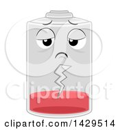 Clipart Of A Depleted Battery Character Royalty Free Vector Illustration