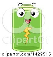 Clipart Of A Happy Fully Charged Battery Character Royalty Free Vector Illustration