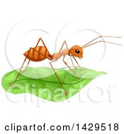 Clipart Of A Fire Ant On A Lush Green Leaf Royalty Free Vector Illustration by BNP Design Studio