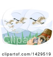 Clipart Of A Man Watching Birds And Taking Pictures Under Migrating Geese Royalty Free Vector Illustration