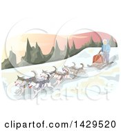 Clipart Of A Sled Dog Team In The Mountains Royalty Free Vector Illustration
