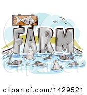 Clipart Of A Net And Farm Text With Fish Royalty Free Vector Illustration by BNP Design Studio