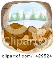 Clipart Of A Cute Squirrel Napping In A Tree Hollow With A Lake In The Background Royalty Free Vector Illustration