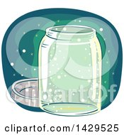 Clipart Of A Glass Jar With Fireflies Royalty Free Vector Illustration by BNP Design Studio
