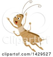 Clipart Of A Happy Cricket Jumping Royalty Free Vector Illustration