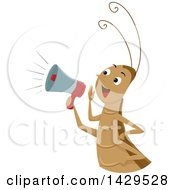 Clipart Of A Happy Cricket Using A Megaphone Royalty Free Vector Illustration by BNP Design Studio