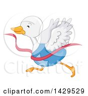 Clipart Of A White Duck Runner Breaking Through A Finish Line Royalty Free Vector Illustration by BNP Design Studio