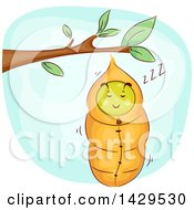 Clipart Of A Sleeping Caterpillar Snuggled In A Cocoon Royalty Free Vector Illustration