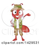 Clipart Of A Safari Fire Ant Presenting And Holding Binoculars Royalty Free Vector Illustration by BNP Design Studio
