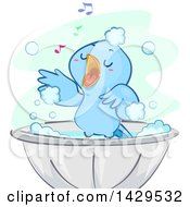 Clipart Of A Happy Blue Bird Singing And Taking A Bath Royalty Free Vector Illustration