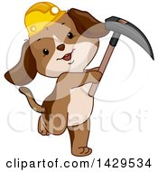 Clipart Of A Cute Miner Dog Wearing A Hardhat And Holding A Pickaxe Royalty Free Vector Illustration