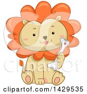 Clipart Of A Cute Male Lion Sitting And Holding A Bone Royalty Free Vector Illustration by BNP Design Studio