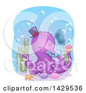 Clipart Of A Cute Purple Octopus Musician Playing A Conch Shell Royalty Free Vector Illustration