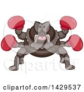 Clipart Of A Tough Fighter Spider Wearing Boxing Gloves Royalty Free Vector Illustration by BNP Design Studio