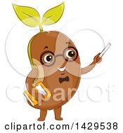 Clipart Of A Bean Sprout Teacher Holding Chalk And A Book Royalty Free Vector Illustration