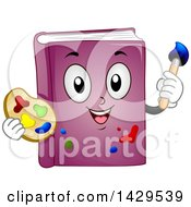 Clipart Of A Purple Book Mascot Holding An Art Paint Palette And Brush Royalty Free Vector Illustration