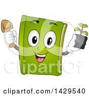 Clipart Of A Green Gardening Book Mascot Holding A Plant And Shovel Royalty Free Vector Illustration
