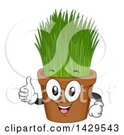 Clipart Of A Potted Wheatgrass Mascot Royalty Free Vector Illustration