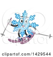 Clipart Of A Happy Snowflake Mascot Skiing Royalty Free Vector Illustration by BNP Design Studio