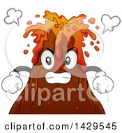 Clipart Of A Furious Erupting Volcano Mascot Royalty Free Vector Illustration