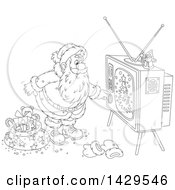 Clipart Of Cartoon Black And White Lineart Santa Claus Turning On A Tv While Delivering Christmas Gifts Royalty Free Vector Illustration
