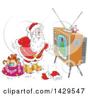 Clipart Of Cartoon Santa Claus Turning On A Tv While Delivering Christmas Gifts Royalty Free Vector Illustration