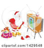 Santa Claus Turning On A Tv While Delivering Christmas Gifts