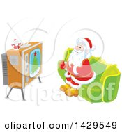 Santa Claus Sitting On A Sofa And Watching Tv