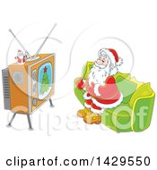 Clipart Of Cartoon Santa Claus Sitting On A Sofa And Watching Tv Royalty Free Vector Illustration