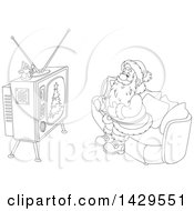 Clipart Of Cartoon Black And White Lineart Santa Claus Sitting On A Sofa And Watching Tv Royalty Free Vector Illustration