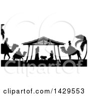 Clipart Of A Black And White Christmas Nativity Scene Of Baby Jesus Mary And Joseph In The Manger With The Magi Wise Men Royalty Free Vector Illustration