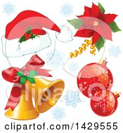 Clipart Of A Christmas Santa Hat Poinsettia Baubles And Bells Royalty Free Vector Illustration by Pushkin