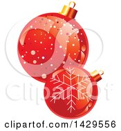 Clipart Of Shiny Red Christmas Bauble Ornaments Royalty Free Vector Illustration
