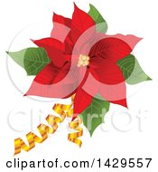 Clipart Of A Red Poinsettia With Golden Ribbons Royalty Free Vector Illustration