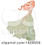 Beautiful Red Haired Caucasian Woman With Her Long Hair Flowing In The Wind