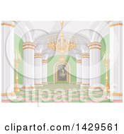Clipart Of A Pink White Gold And Green Palace Interior With Candles A Chandelier And Painting Royalty Free Vector Illustration