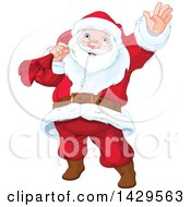 Clipart Of A Jolly Santa Claus Carrying A Sack And Waving Royalty Free Vector Illustration by Pushkin