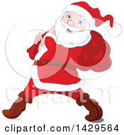 Clipart Of A Jolly Santa Claus Carrying A Sack Over His Shoulder Royalty Free Vector Illustration by Pushkin