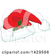 Clipart Of A Christmas Santa Hat With Holly Royalty Free Vector Illustration