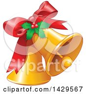 Clipart Of A Red Bow And Holly On Christmas Bells Royalty Free Vector Illustration by Pushkin