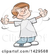 Clipart Of A Cartoon Caucasian Boy Giving Two Thumbs Up Royalty Free Vector Illustration by Johnny Sajem