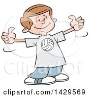 Clipart Of A Cartoon Caucasian Boy Wearing A Volleyball Shirt And Giving Two Thumbs Up Royalty Free Vector Illustration by Johnny Sajem