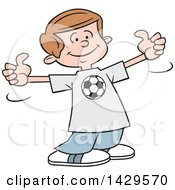 Clipart Of A Cartoon Caucasian Boy Wearing A Soccer Shirt And Giving Two Thumbs Up Royalty Free Vector Illustration by Johnny Sajem