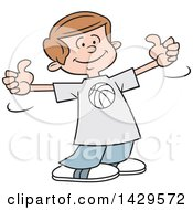 Clipart Of A Cartoon Caucasian Boy Wearing A Basketball Shirt And Giving Two Thumbs Up Royalty Free Vector Illustration by Johnny Sajem