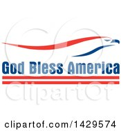 Clipart Of A Patriotic Red White And Blue Eagle Over God Bless America Text Royalty Free Vector Illustration