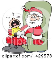 Clipart Of A Caucasian Boy Screaming And Crying On Santas Lap Royalty Free Vector Illustration