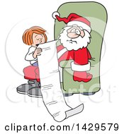 Clipart Of A Caucasian Girl Sitting On Santas Lap And Reading Him A Very Long Christmas Wish List Royalty Free Vector Illustration