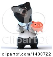 Clipart Of A 3d Black Bear Veterinarian Or Doctor Holding A Piggy Bank On A White Background Royalty Free Illustration by Julos